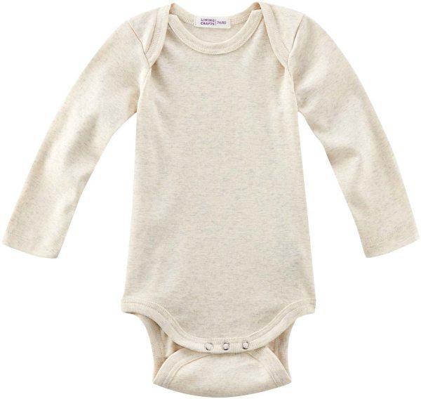 Baby Langarm-Body aus Bio-Baumwolle - natural melange
