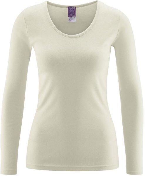 Langarm Frauen-Unterhemd - Biobaumwolle natur - Bild 1