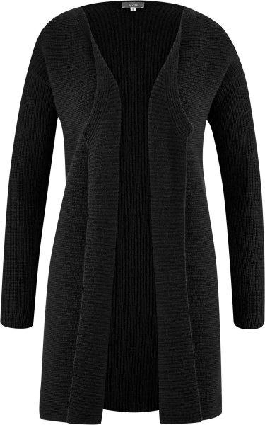 Strickjacke aus Bio-Baumwolle und Bio-Wolle - black