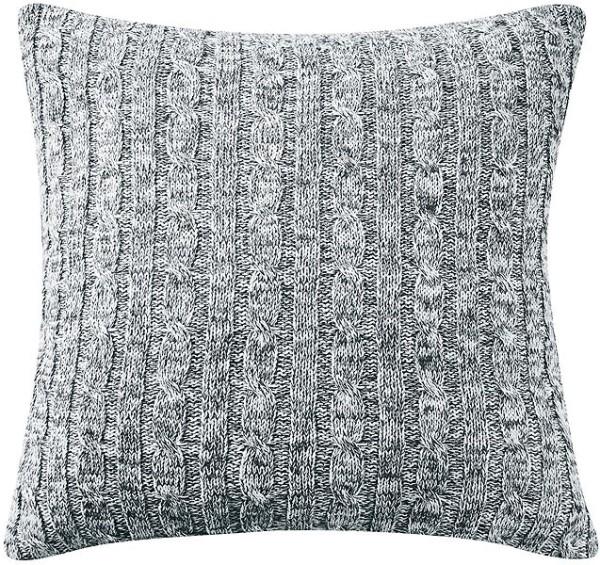 Strick-Kissenbezug aus 100% Biobaumwolle - graphit/natural - Bild 1