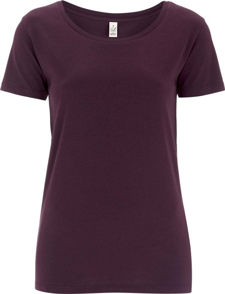 Open Neck T-Shirt - Biobaumwolle - eggplant