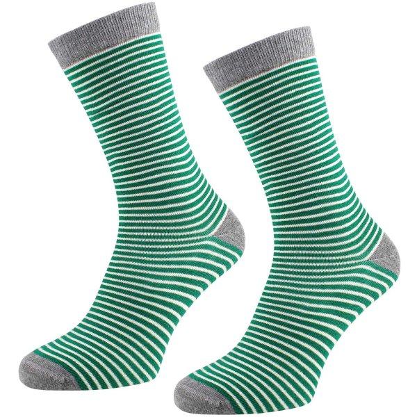 Socken aus Bio-Baumwolle geringelt - 2er Pack - grün-natur-grau