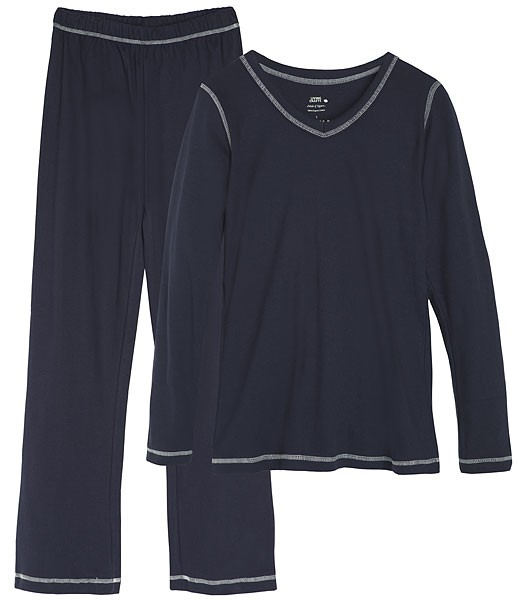 Frauen V-Neck Schlafanzug aus Bio-Baumwolle - dunkelblau - Bild 1
