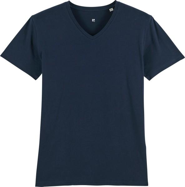 T-Shirt mit V-Ausschnitt aus Bio-Baumwolle - french navy