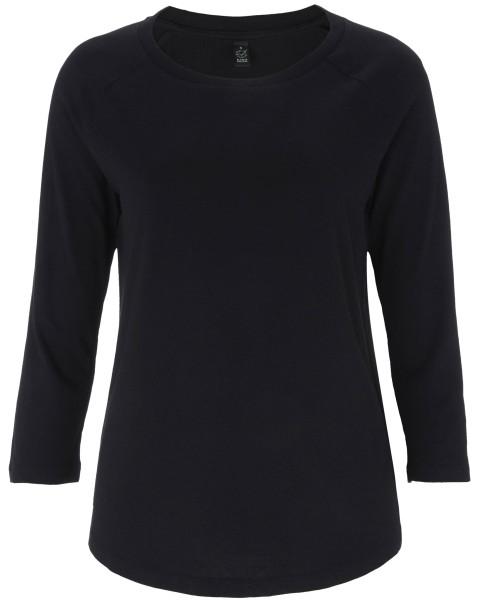 3/4 Sleeve Shirt aus Tencel und Bio-Baumwolle - schwarz
