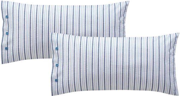 Kopfkissenbezug aus Bio-Baumwolle 40x80cm - 2er-Pack - blue shadow/offwhite