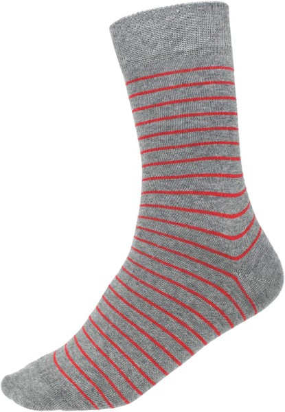 Damen Socken aus Bio-Baumwolle - grau/rot gestreift
