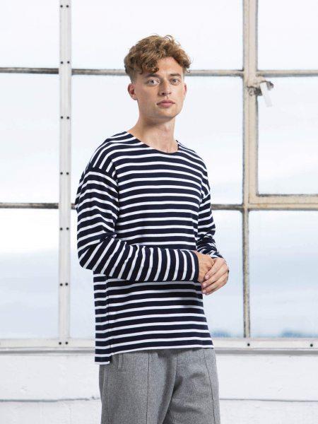 Organic Unisex Stripe Longsleeve - navy/white - Herren Model