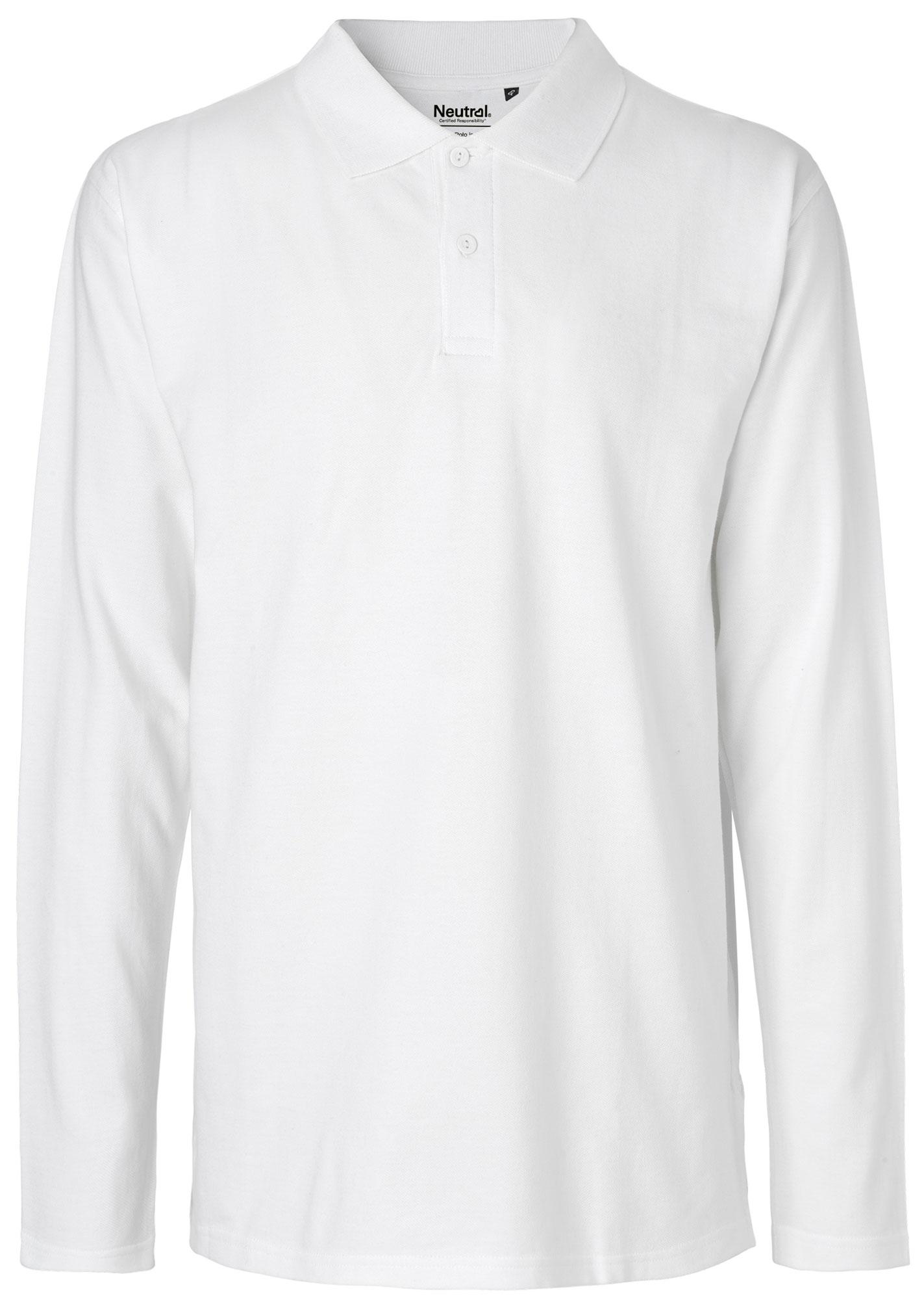 outlet store a7d5e ef492 Langarm Polo-Shirt aus Fairtrade Bio-Baumwolle - weiss