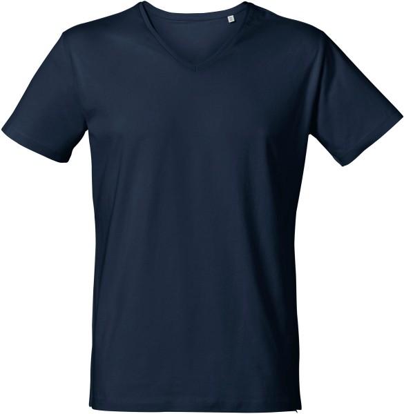 T-Shirt mit V-Ausschnitt aus Bio-Baumwolle - navy