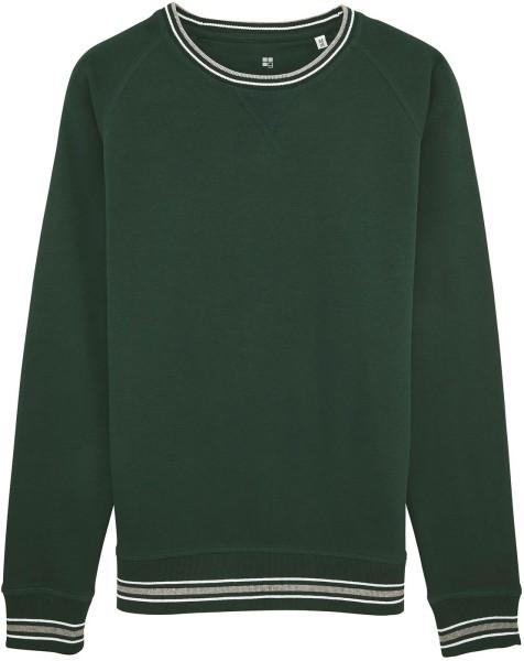 Sweatshirt mit Kontrastbündchen Bio-Baumwolle - scarab green
