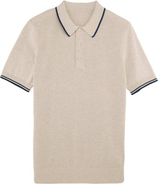 Buzzes - Strick-Poloshirt aus Bio-Baumwolle - mid heather beige