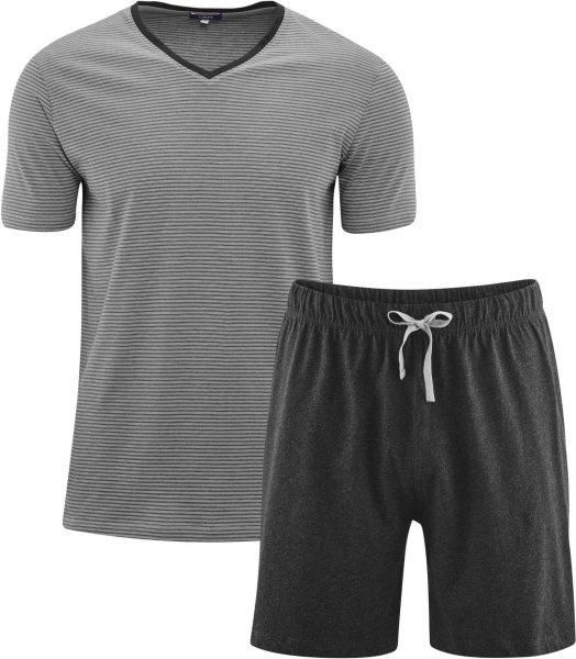 Kurzer Schlafanzug Bio-Baumwolle – stone grey/anthra