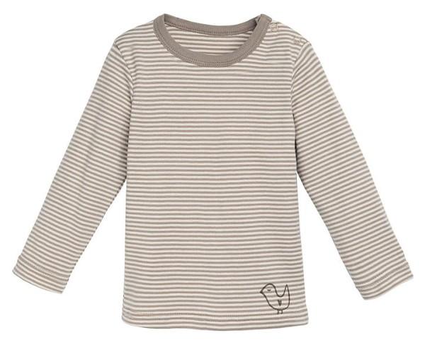 Baby Langarm-Unterhemd aus Bio-Baumwolle - taupe-gestreift - Bild 1