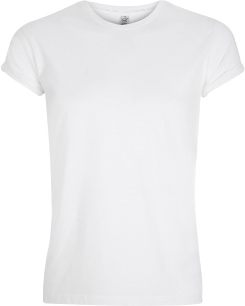 Organic Rolled-Up Sleeve T-Shirt weiss