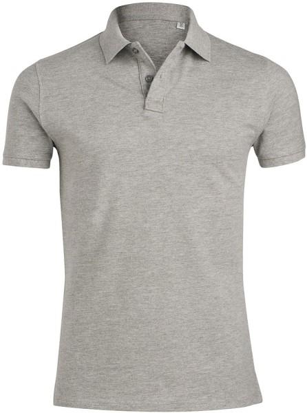 Piqué-Poloshirt aus Bio-Baumwolle - grau meliert