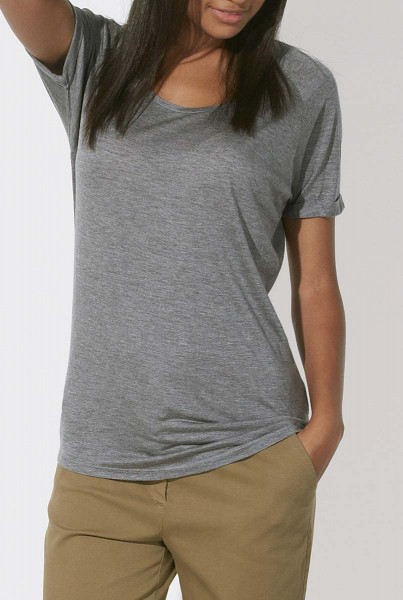 Raglan Rolled Sleeve T-Shirt aus Modal - mid heather grey
