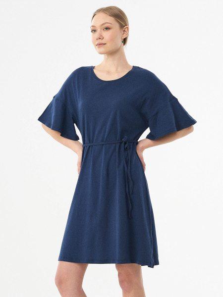 Half Sleeve Kleid aus Bio-Baumwolle & Leinen - navy