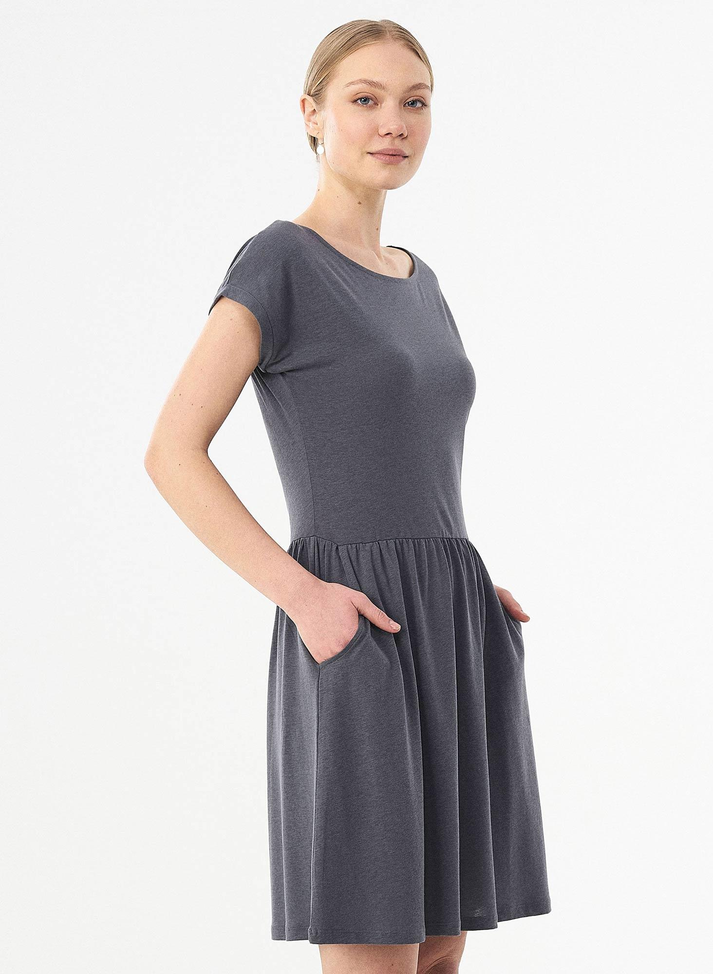 WOR11650-shadow-knielanges-Kurzarm-Kleid-aus-Lyocell-und-Bio-Baumwolle-elastische-Taille-Seitentaschen-vegan-PETA-approved