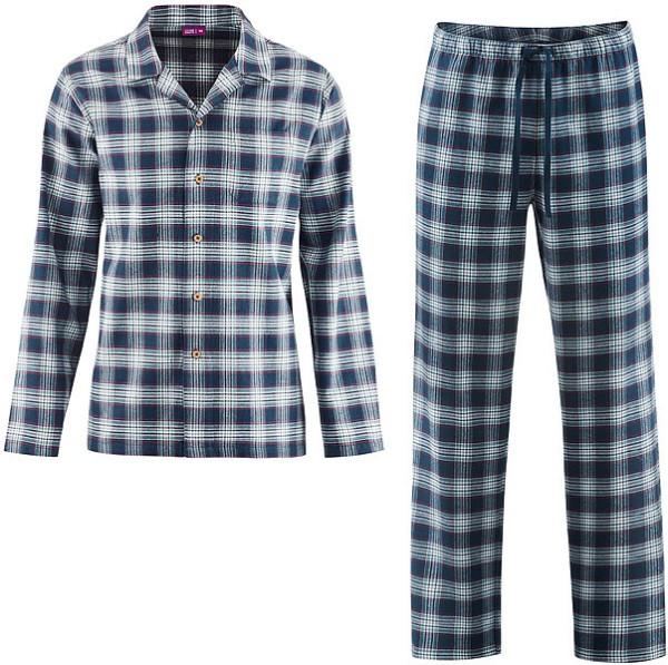 Flanell-Schlafanzug aus Bio-Baumwolle - dark navy/mineral - Bild 1