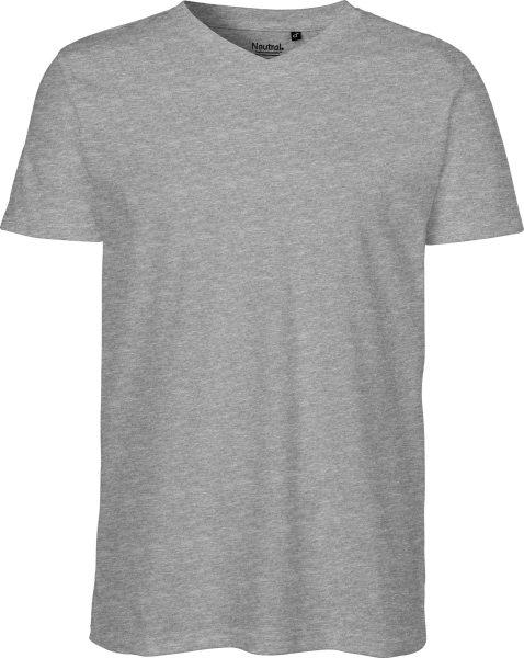 V-Neck T-Shirt Fairtrade Bio-Baumwolle - grau-meliert