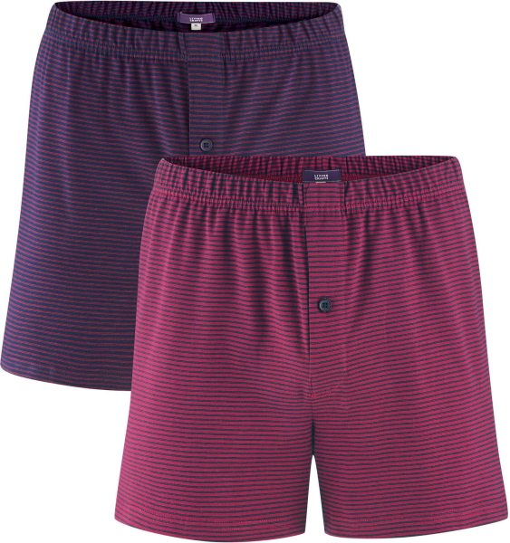 Boxer Shorts - Biobaumwolle - navy/ruby - 2er-Pack