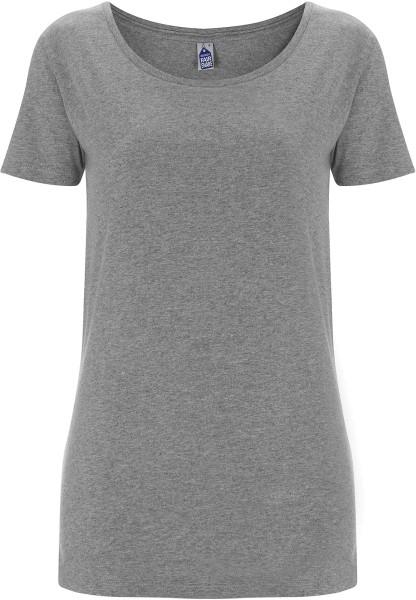 Damen Shirt weiter Rundhalsausschnitt grau fair