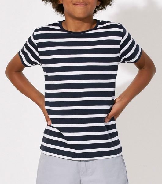 Kinder T-Shirt - Mini Stripes Bio-Baumwolle - white-navy