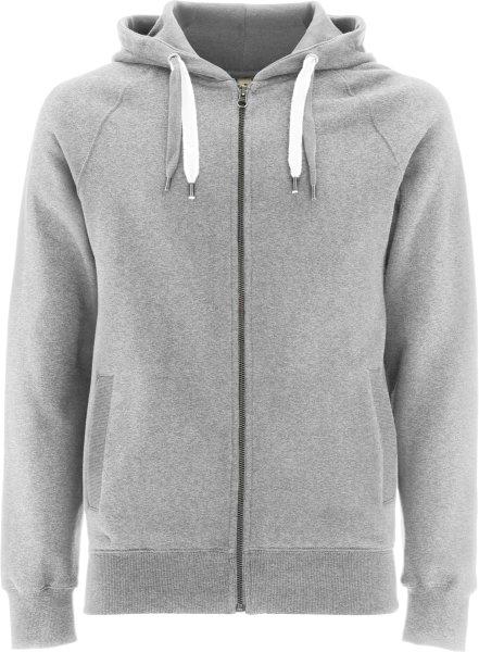 Unisex Biobaumwoll Zip-Up Hoody mit Seitentaschen - grau-meliert