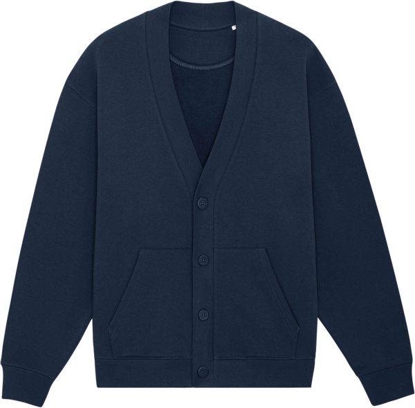 Oversized Sweat-Cardigan aus Bio-Baumwolle - french navy