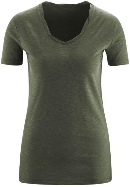 Twisted Neckline T-Shirt aus Biobaumwolle - olive