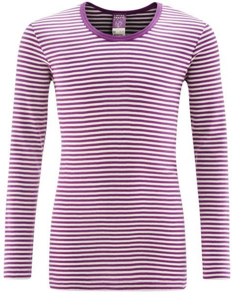 Kinder Langarm-Unterhemd Biobaumwolle - purple/natur striped