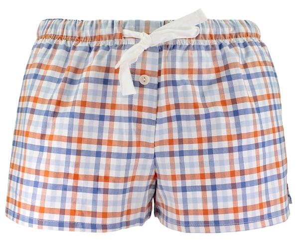 Relax-Shorts aus Bio-Baumwolle - blau-orange-natur kariert - Bild 1