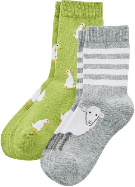 Kinder-Socken aus Bio-Baumwolle - 2er-Pack – kiwi/foggy