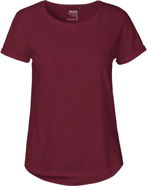 Roll Up Sleeve T-Shirt aus Fairtrade Bio-Baumwolle - bordeaux