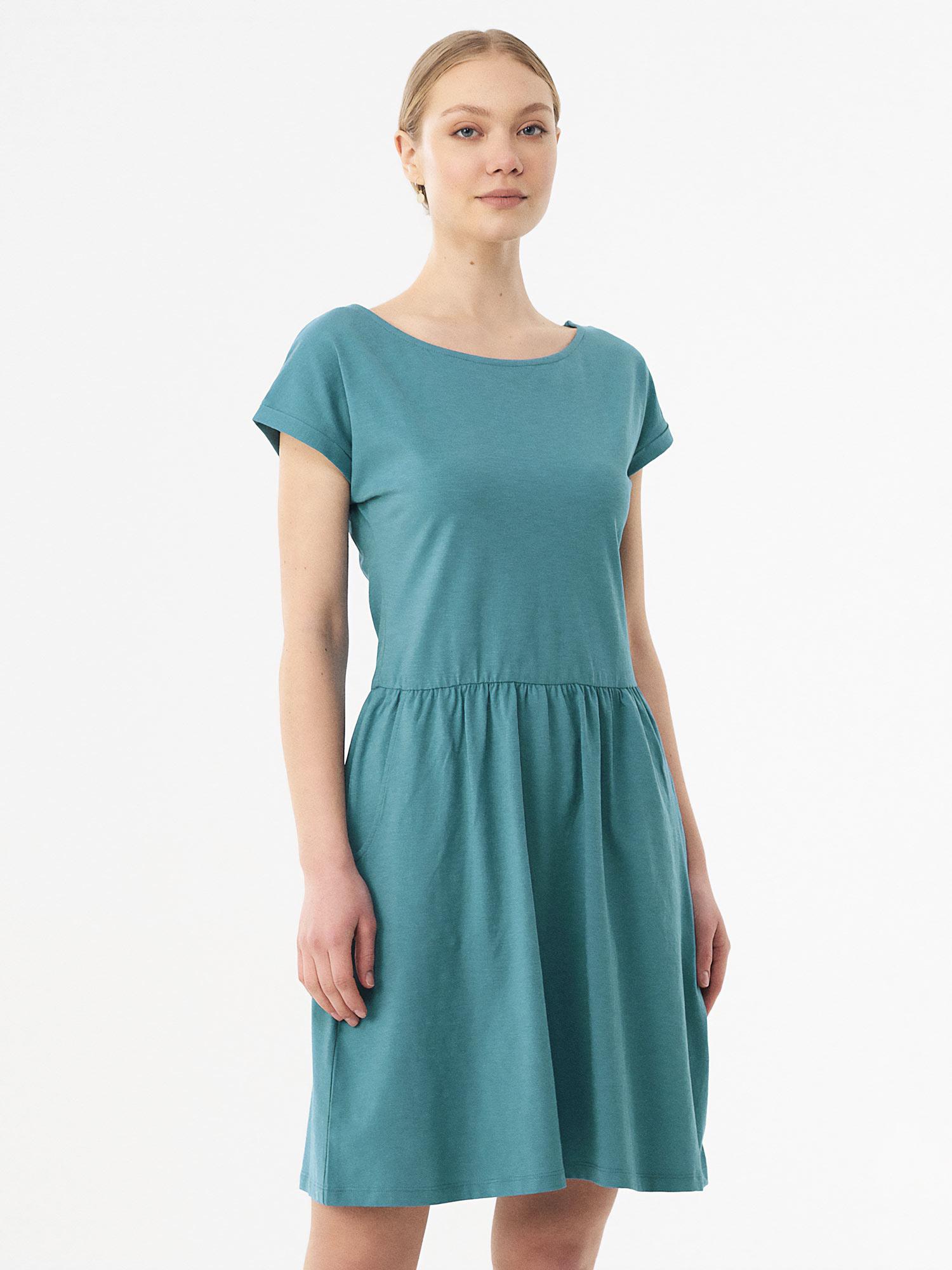 WOR-casual009-petrolblue-nachhaltiges-Kurzarm-Kleid-aus-Bio-Baumwolle-knielang-Rundhals-Ausschnit-Seitentaschen-am-Rockteil