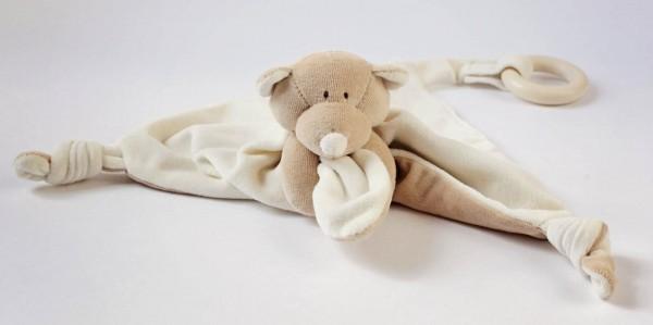 Schmusetuch Teddy mit Beißring - Holz und Bio-Baumwolle - Bild 1