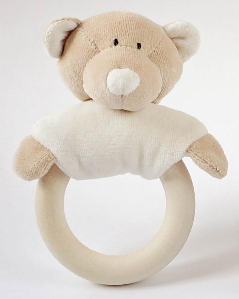 Teddy mit Rassel und Beißring - Holz und Bio-Baumwolle - Bild 1