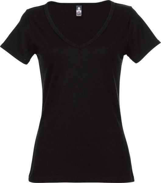 T-Shirt mit großem V-Ausschnitt - schwarz - Bild 1