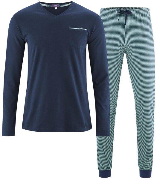Schlafanzug aus Bio-Baumwolle - navy/evergreen