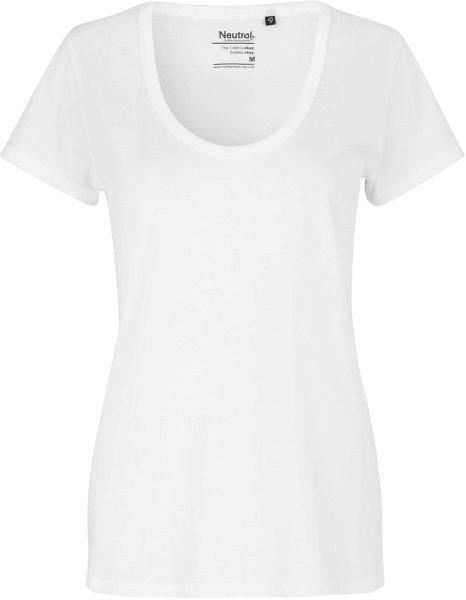 Deep Round Neck T-Shirt aus Fairtrade Bio-Baumwolle - weiss