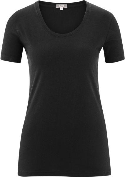 Basic Rundhals T-Shirt aus Bio-Baumwolle - black