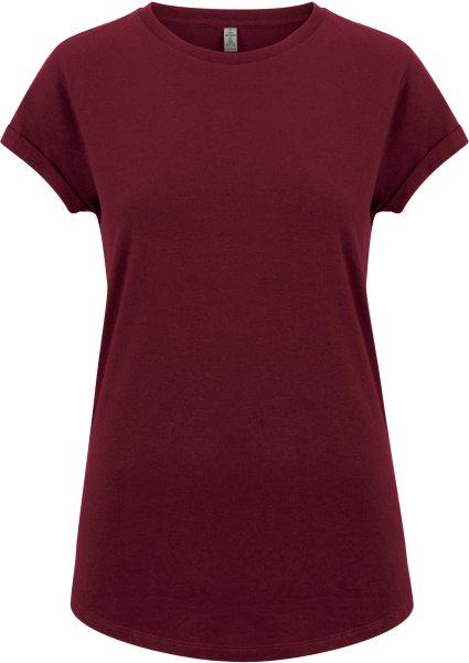 Recycled Rolled Sleeve T-Shirt - burgundy