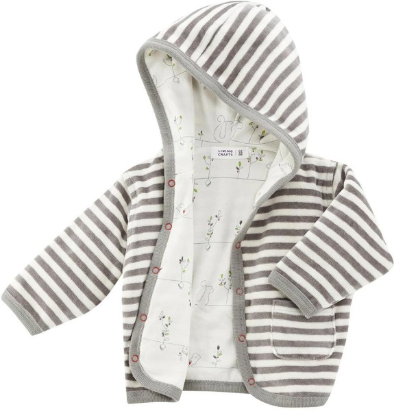 Baby Jäckchen Bio-Baumwolle – moss/natural striped