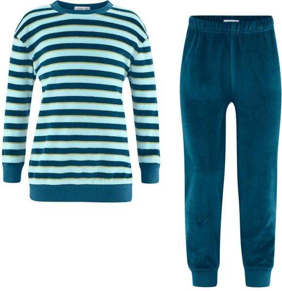 Kinder Schlafanzug aus Bio-Baumwolle - petrol/light blue