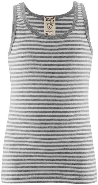 Kinder Unterhemd aus Bio-Baumwolle - grey/white striped - Bild 1
