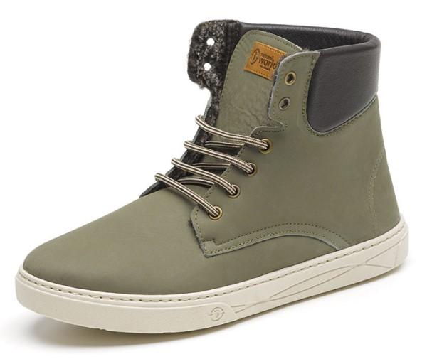 Bota Alta Cuello Nobuk - Nubukleder-Schuhe gefüttert - kaki