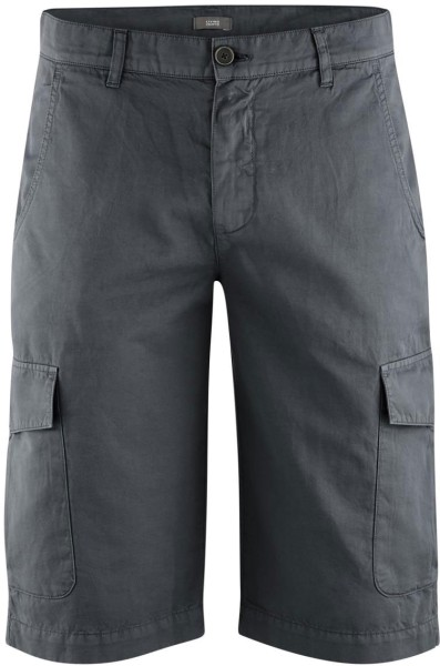 Bermuda-Shorts aus Bio-Baumwolle und Bio-Leinen - asphalt