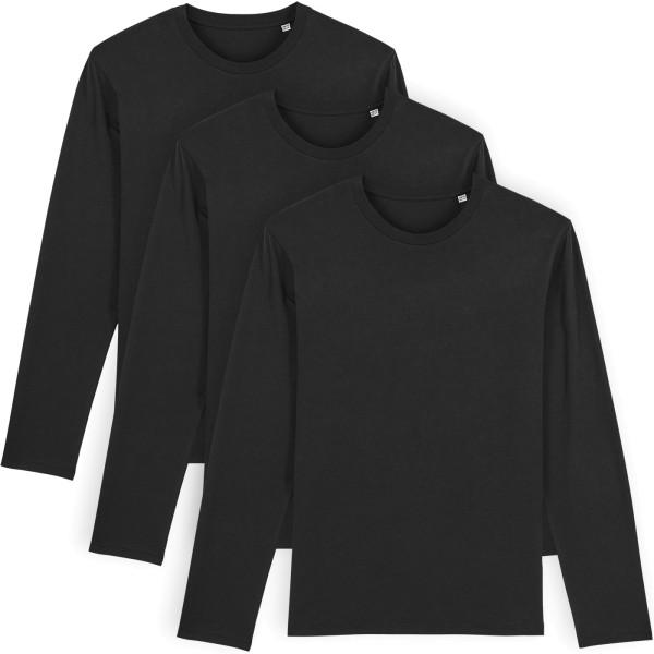 Longsleeve aus Bio-Baumwolle - black - 3er-Pack