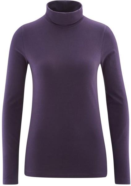 Rollkragen-Langarmshirt aus Bio-Baumwolle - plum